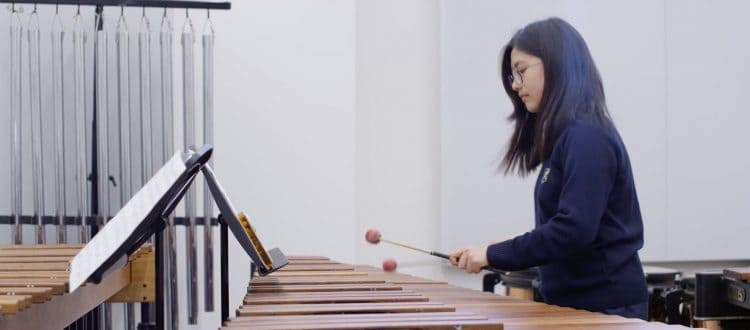 Pupil Plays Percussion at Specialist Music School in Somerset