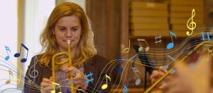 Student Playing Natural Trumpet at Wells Cathedral School
