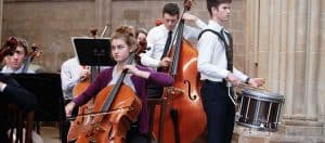 Students practising for Symphony Orchestra in Wells Cathedral