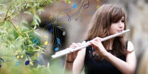 Wells Cathedral School student playing the flute