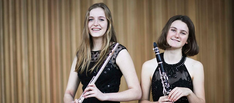 Flute and clarinet players in Cedars Hall