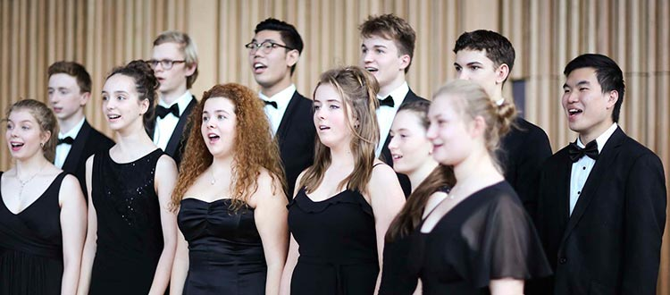 Chamber Choir practising in Cedars Hall