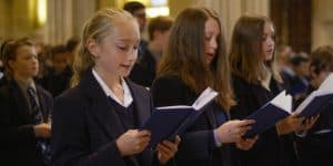 Girls singing in Wells Cathedral