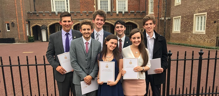 Group awarded their Gold Duke of Edinburgh awards by Prince Edward, Earl of Wessex, at St James' Palace