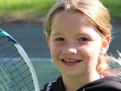 Izzy, who is part of the Under 9 Somerset County Tennis Squad