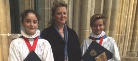 Head Choristers with Lady Tavener