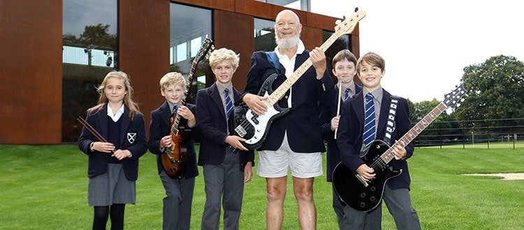 Michael Eavis with students from our new Rock & Pop Department