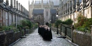 Choristers walking down Vicars Close