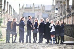 Group of senior school students on Vicars Close