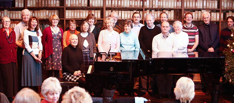Group of piano club players in Quilter Hall