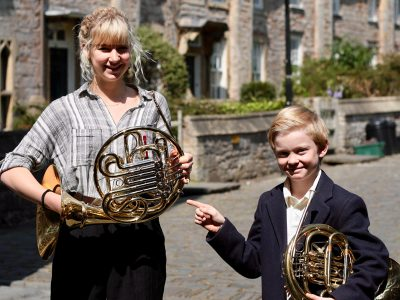 Two Students with French Horns