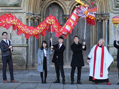 Chinese dragon in front of Wells Cathedral