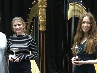 Harpists at Bristol Festival of Music, Speech and Drama.