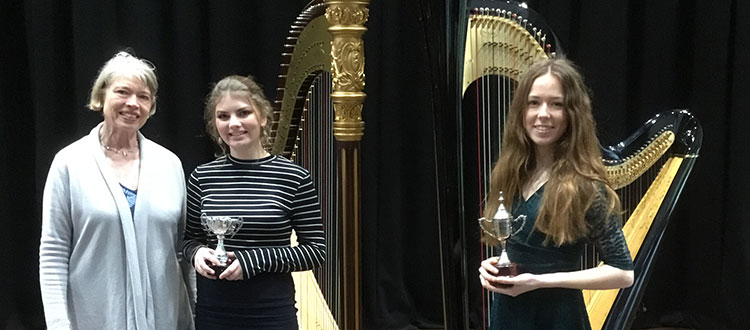 Harpists at Bristol Festival of Music, Speech and Drama.