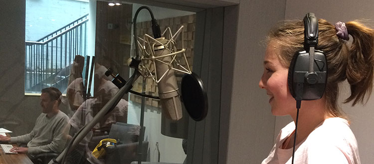 Harriet working on a voice-over