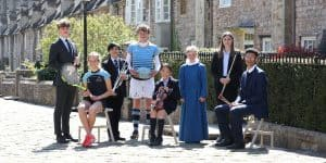 Independent School Musicians and athletes on Vicars' Close in Wells