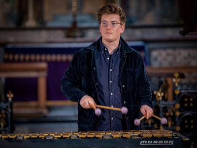 Jonny Mansfield, Percussion DayGuest Jazz Vibes Teacher, playing the marimba