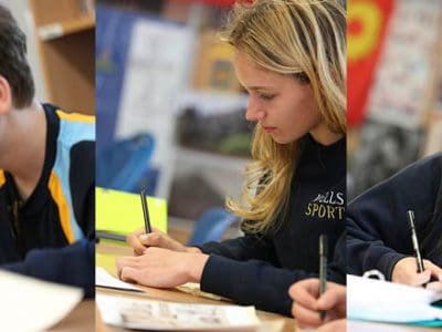 Pupils doing Calligraphy on Vellum
