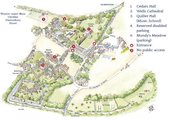Map of key Events locations, including Cedars Hall, Quilter Hall, Wells Cathedral and parking